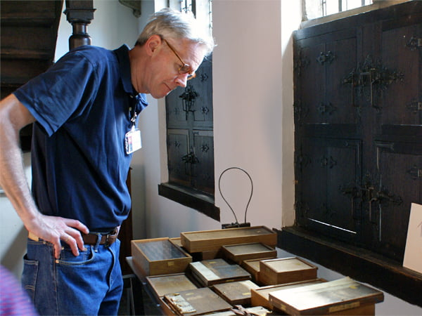 Frank E. Blokland organizing the display of type-foundry material at the Museum Plantin-Moretus