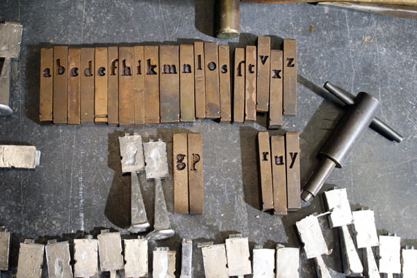 Matrices of Garamont's Gros Canon Romain with newly-cast type