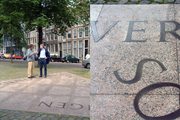 Lettering by Frank E. Blokland of the Homomonument in Amsterdam (1986)