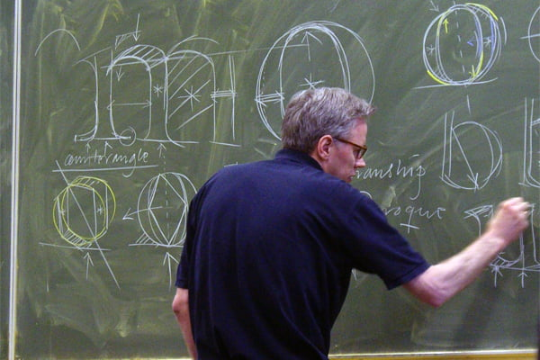 Frank E. Blokland drawing on the blackboard at the KABK