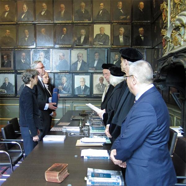 Dr. Frank E. Blokland receiving his diploma at Leiden University