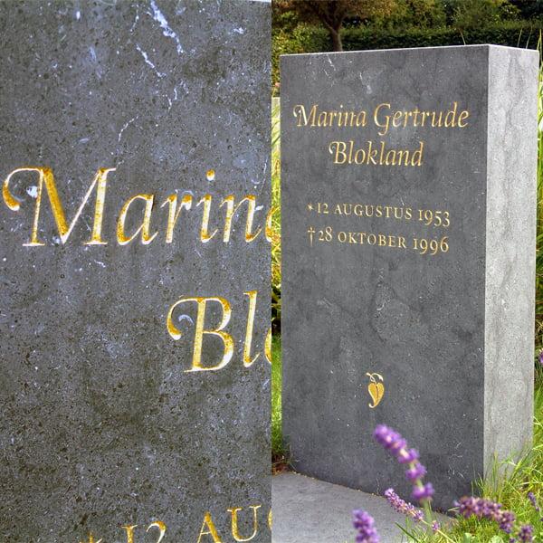 Gravestone designed and cut by Frank E. Blokland (1996)
